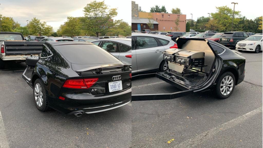 Audi A7 jako przyczepa do PickUp'a? Proszę bardzo, a grill do tego gratis