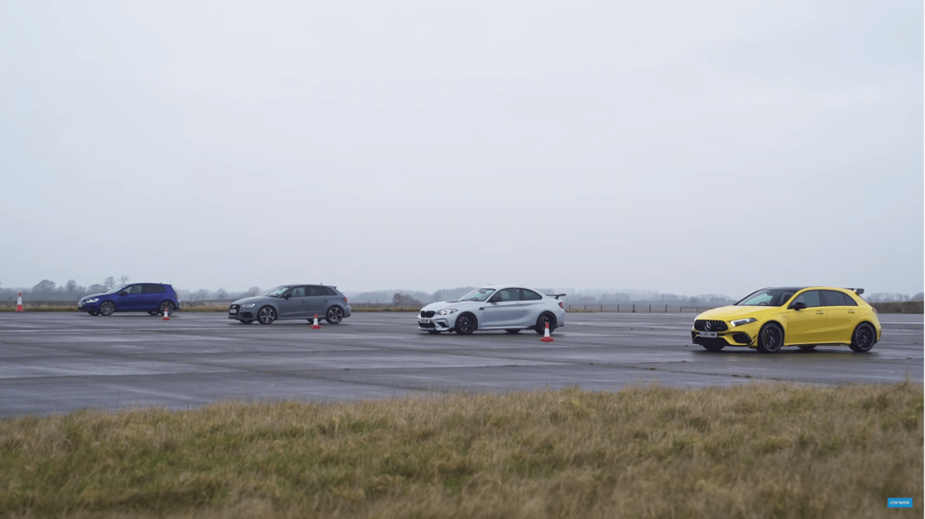 AMG A45 S vs BMW M2 vs Golf R vs Audi RS3 – kto wygra drag?