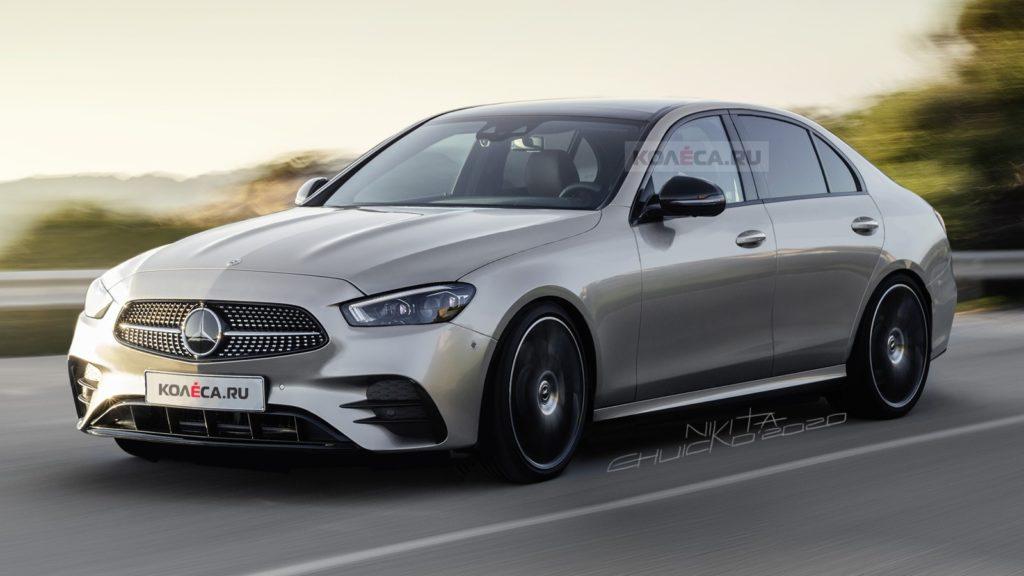 Mercedes klasy C 2022 z pakietem optycznym AMG na nowych grafikach