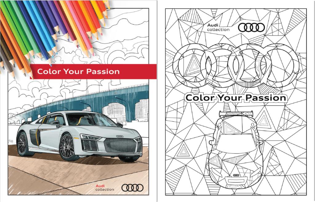 #zostańwdomu i pokoloruj Audi A6, Q7 albo R8 w darmowej kolorowance