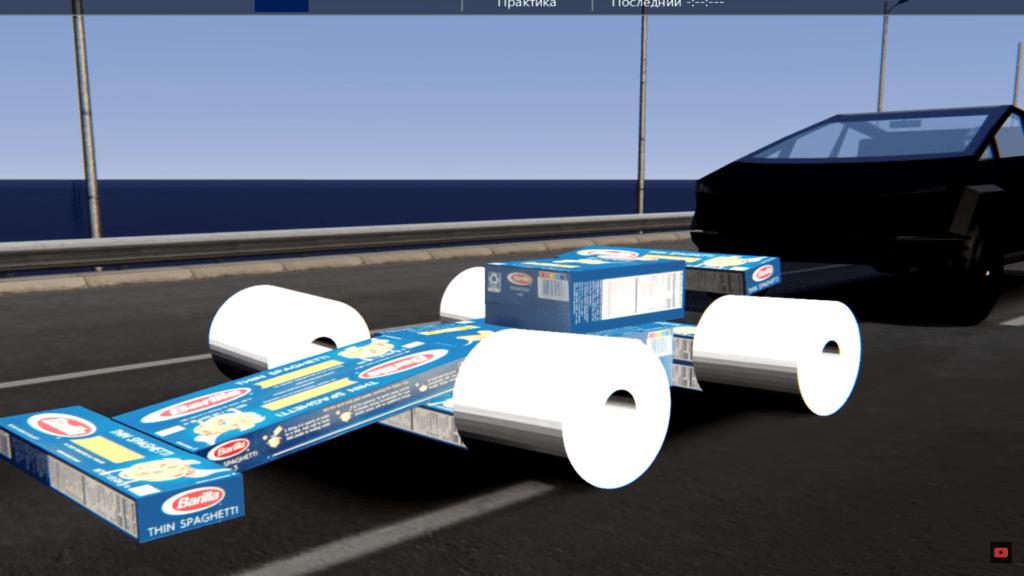 Tesla Cybertruck ściga się z bolidem zrobionym z spaghetti i papieru