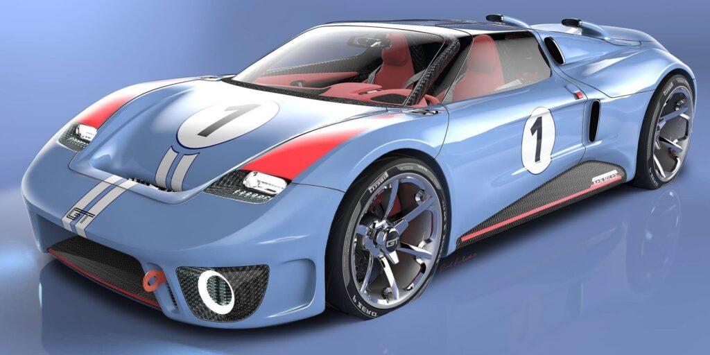 Ken Miles Ford GT Concept jako render upamiętniający legendę Le Mans