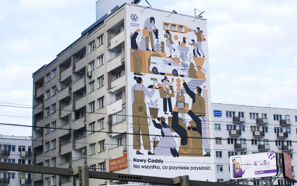 Volkswagen Caddy 5 gwiazdą nowego murala w centrum Warszawy