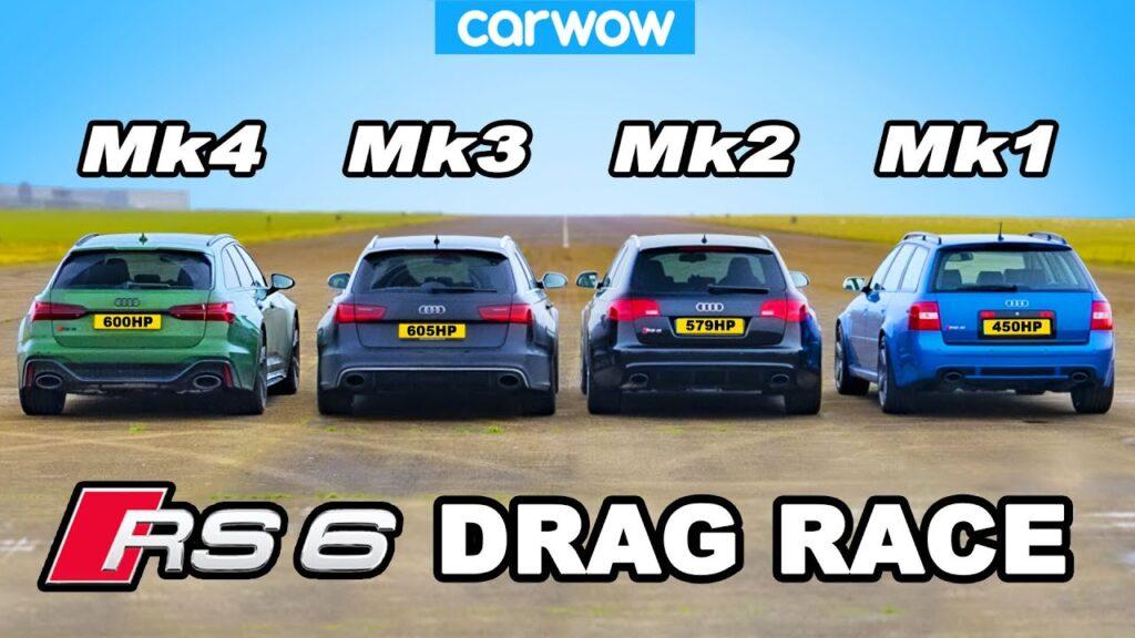 Wszystkie generacje Audi RS6 porównanie w wyścigu na 1/4 mili