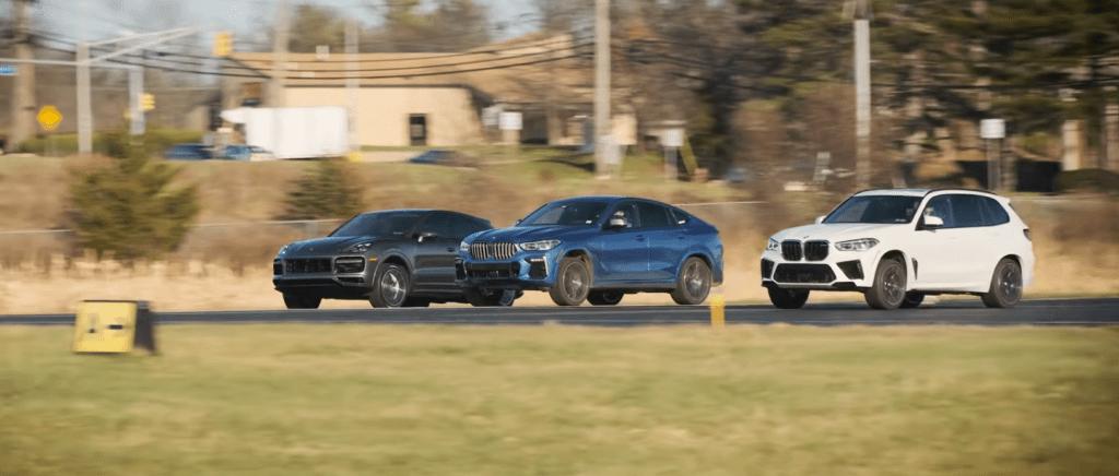 BMW X5 M i X6 M50i vs Porsche Cayenne Turbo – niespodziewany wynik